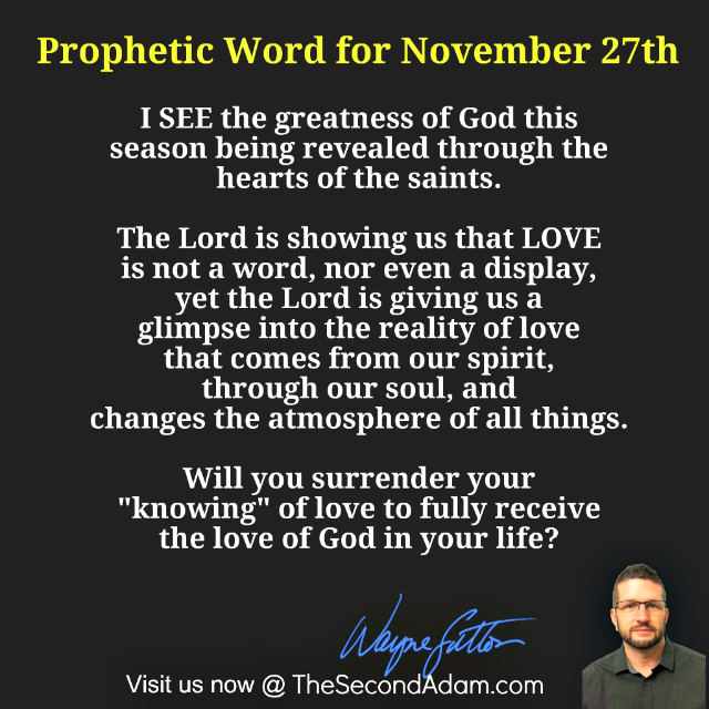 Prophetic Word for November 27th