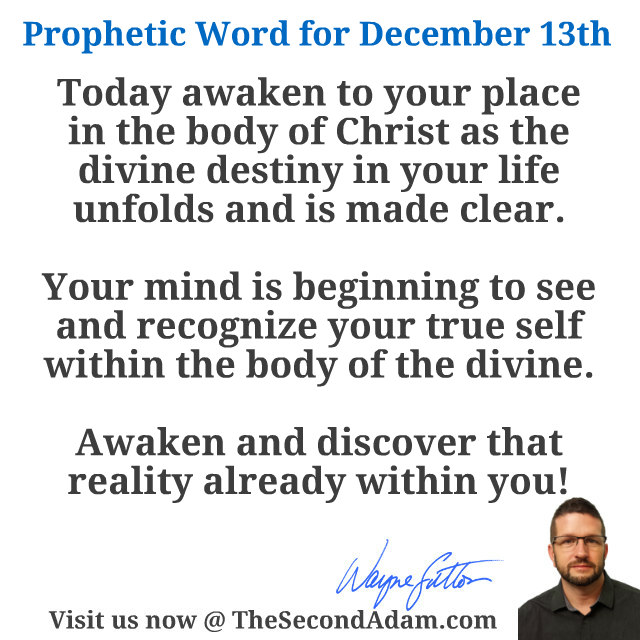 dec 13 daily prophetic word