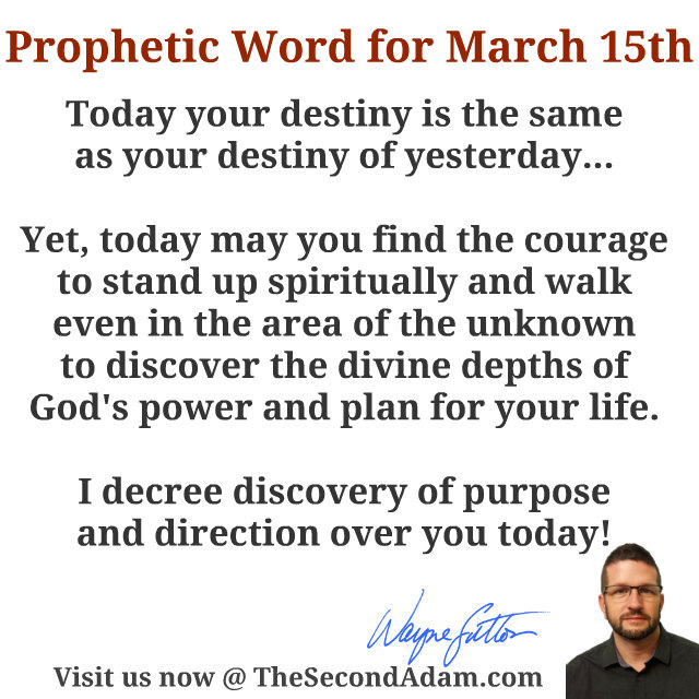 march 15 daily prophetic word
