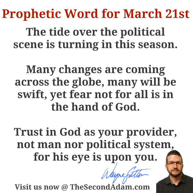 March 21 2016 Daily Prophetic Word