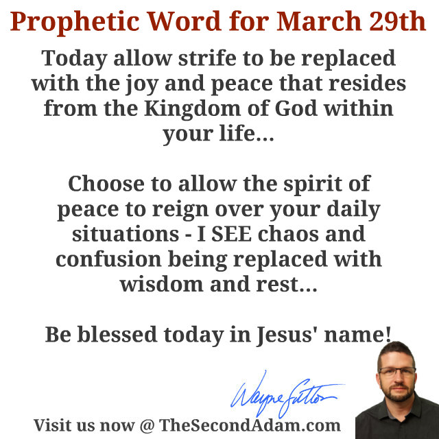 March 29 2016 Daily Prophetic Word