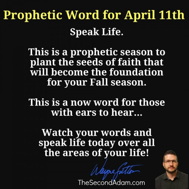 april 11 daily prophetic word