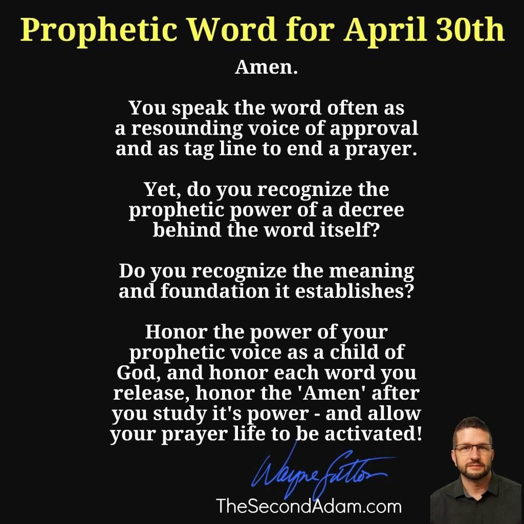 april 30 prophetic