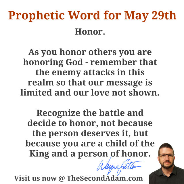 May 29 2016 Daily Prophetic Word