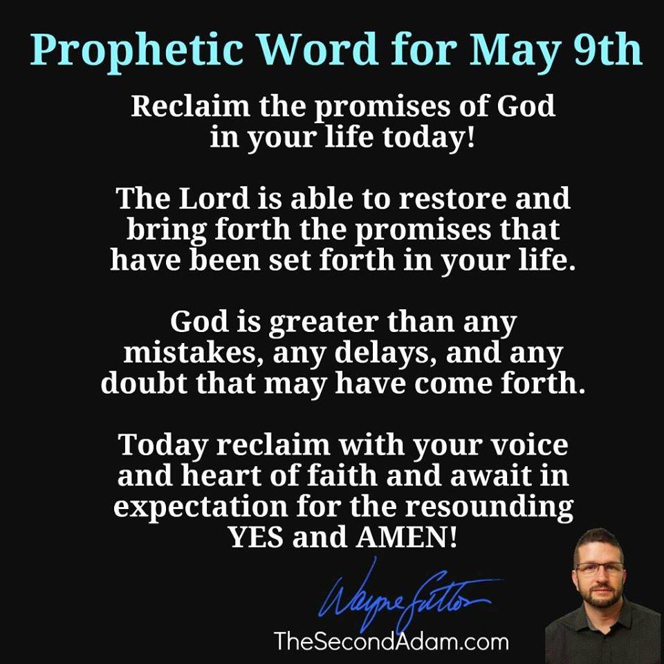 may 9 prophetic word