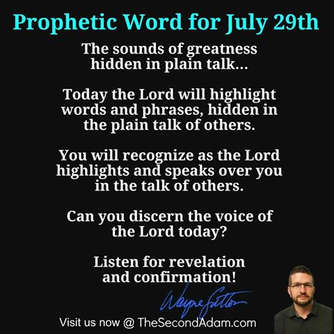 July 29 Daily Prophetic Word of God