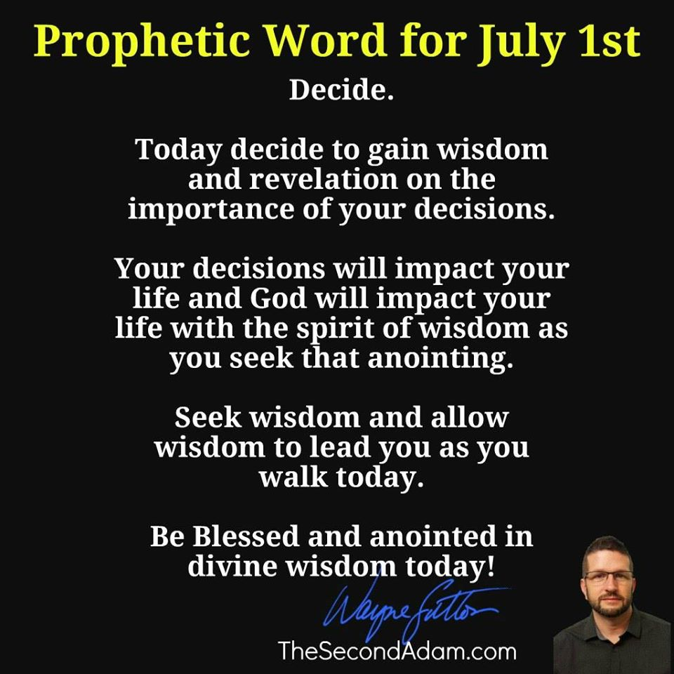 july 1 daily prophetic word