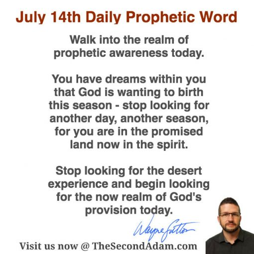July 14th Daily Prophetic Word of God