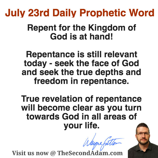 July 2016 Daily Prophetic Word of God