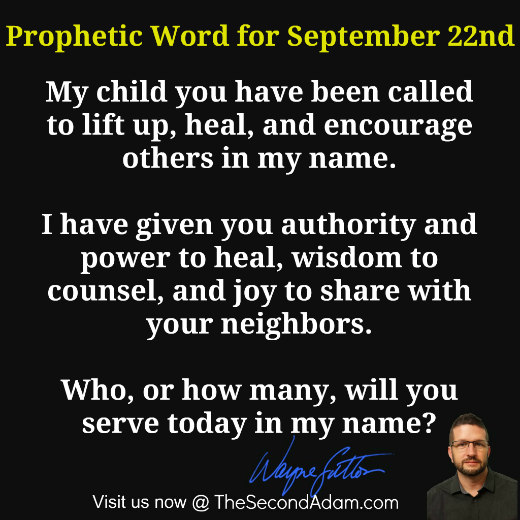 Daily Prophetic Word for September 22nd