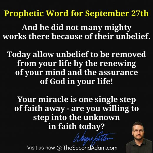 September 27 Daily Prophetic Word of God