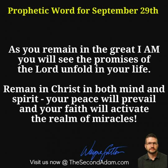 December 29th Daily Prophetic Word of God