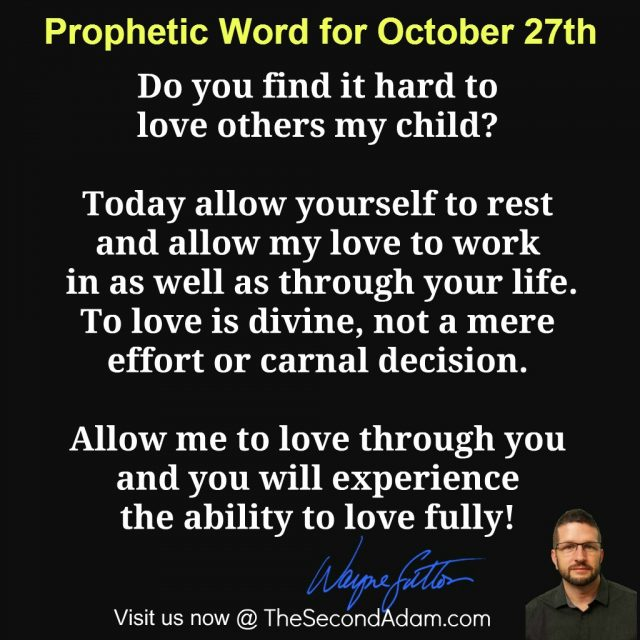 October 27 Daily Prophetic Word of God