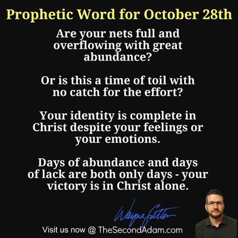 October 28 Daily Prophetic Word of God