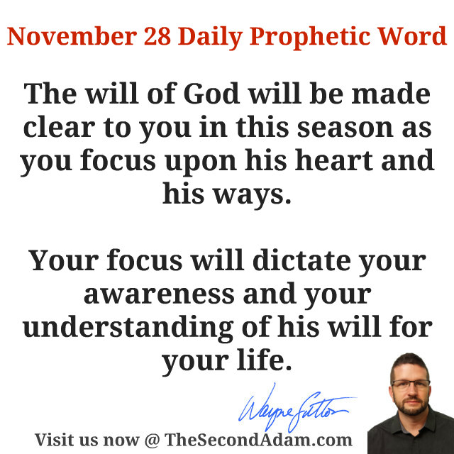 November 28 Daily Prophetic Word of God