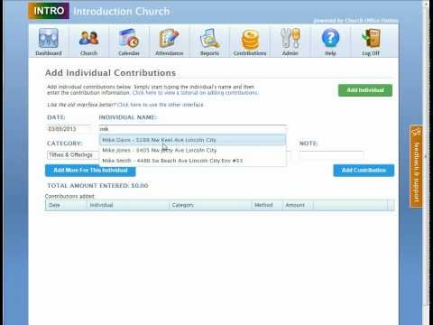 Adding Contributions Video Tutorial for Church Membership Online