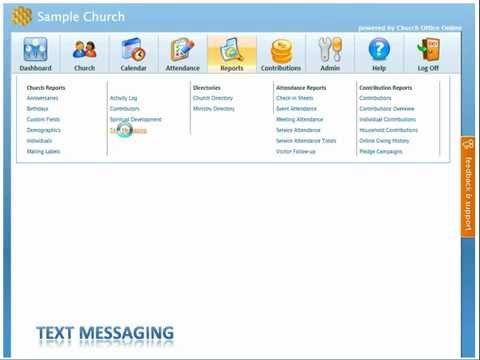 Church Membership Online 2013 Text Messaging Tutorial