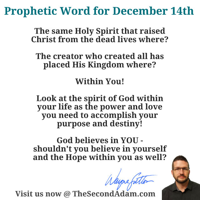 December 14 Daily Prophetic Word of God