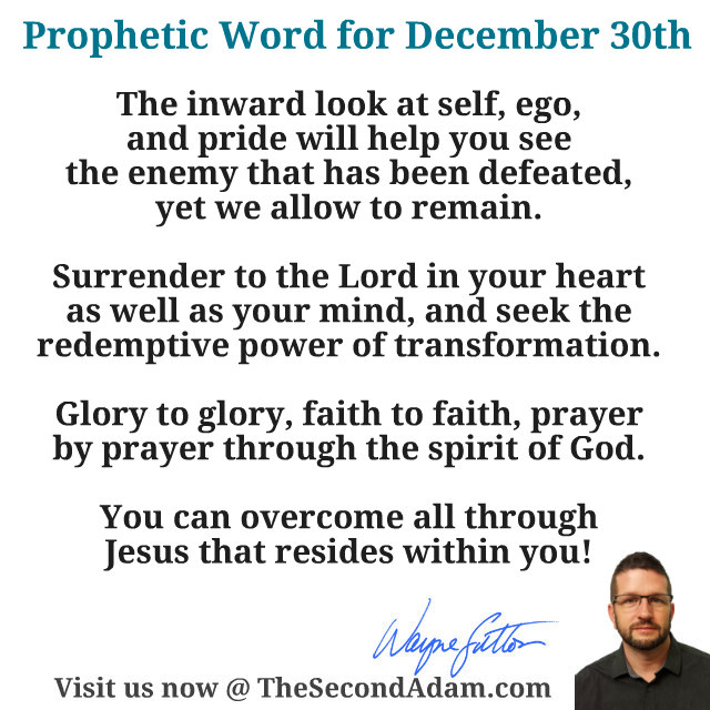 December 30 Daily Prophetic Word of God