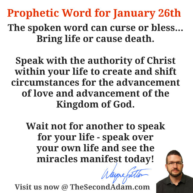 January 26 Daily Prophetic Word of God