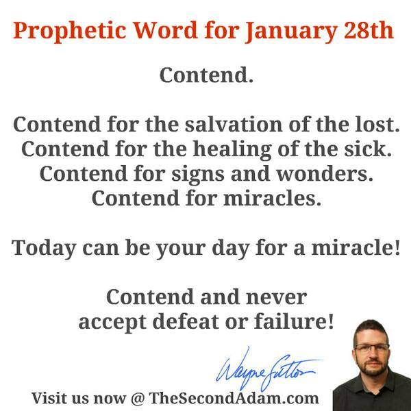 January 28 Daily Prophetic Word of God