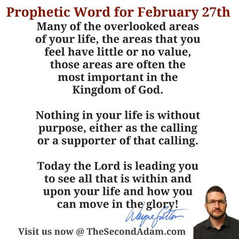 February 27 Daily Prophetic Word of God