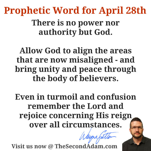 April 28 Daily Prophetic Word